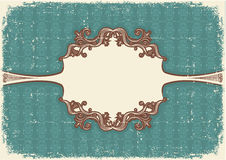 Abstract vintage frame with vignettes for text. On old paper texture stock illustration