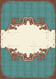 Abstract vintage frame with vignettes for text. On old paper texture vector illustration