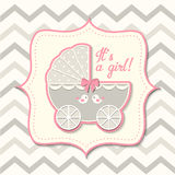 Abstract Vintage Girl Stroller, Baby Shower Stock Photo