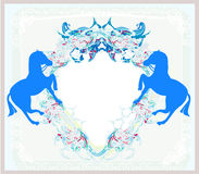 Abstract vintage horses logo Stock Image