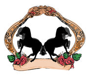 Abstract vintage horses logo Royalty Free Stock Images