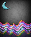 Abstract vintage illustration - scene with moon and color waves Royalty Free Stock Image