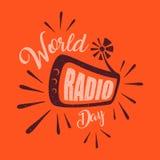 Abstract vintage letter World Radio Day for element design on the orange background. Vector idea of broadcasting and communication design. Vector illustration stock illustration