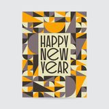 Happy New Year Card. Abstract vintage mid century new year card design. Abstract geometric vintage design vector illustration