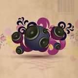 Abstract vintage music background. With round speakers. EPS10 vector Royalty Free Stock Photo