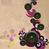 Abstract vintage music background with speakers Stock Photo