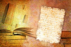 Abstract vintage paper with old book motives. Abstract vintage grunge background illustration Stock Image