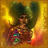Abstract vintage, retro girl with afro hairstyle. A metallic gold abstract background and effect add artistic elements to this retro girl with an afro hairstyle Royalty Free Stock Images