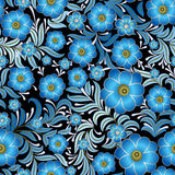 Abstract vintage seamless floral ornament. Abstract vintage seamless black background with blue floral ornament Royalty Free Stock Photography