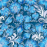 Abstract vintage seamless floral ornament. On dark blue Royalty Free Stock Photos