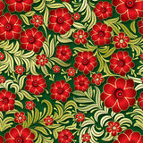 Abstract vintage seamless floral ornament. Abstract vintage seamless green background with red floral ornament Royalty Free Stock Images