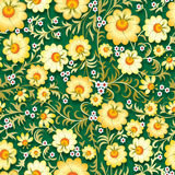 Abstract vintage seamless floral ornament with spring flowers. Abstract vintage seamless floral ornament with yellow flowers on green background Stock Photos