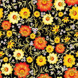Abstract vintage seamless floral ornament with spring flowers. Abstract vintage seamless floral ornament with yellow flowers isolated on black background Stock Photo