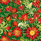 Abstract vintage seamless red floral ornament on green Stock Photo
