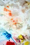 Yellow orange white blue spots, painting watercolor background, painting abstract colors stock photography