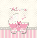 Abstract vintage stroller, baby shower Royalty Free Stock Photos
