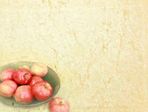 Abstract vintage texture. With a bowl of apples in the lower corner Royalty Free Stock Photos
