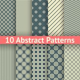 Abstract vintage vector seamless patterns (tiling). 10 Abstract vintage vector seamless patterns (tiling). Set of abstract geometric ornament Stock Image