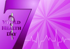 Abstract violet background with medical symbols. World Health day. Number 7 and Staff of Asclepius. Vector illustration Royalty Free Stock Images