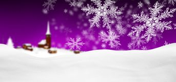 Abstract Violet Background Panorama Winter Landscape with Fallin. G Filigree Snowflakes. Snowy Ground with Fresh Snow. Winter Holiday Season Backdrop Template vector illustration