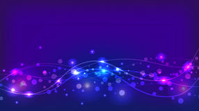 Abstract violet background with sparkles and waves Royalty Free Stock Image