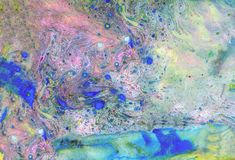 Abstract violet blue and gold marble texture, acrylics art stock photography