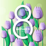 Abstract Violet Floral Greeting card - Happy Mothers Day - 8 May- with Bunch of Spring Tulips. Flower holiday background. Beautiful bouquet. Trendy Design Royalty Free Stock Photography
