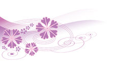 Abstract violet flower design. Illustration of a curly design with violet flowers and waves Stock Photo
