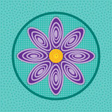 Abstract violet flower on grunge background of geometric shapes, petal with curl. Vector flower Stock Photos