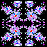Abstract violet flowers on a black background vector illustration Stock Photos