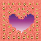 Abstract violet heart from colorful flower on pink background Stock Photos