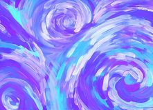 Abstract violet paint background with spirals. Abstract violet and blue acrylic paint background with spirals, wavy RGB bright hand drawn illustration. Color stock illustration