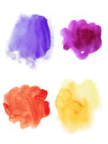 Abstract violet, pink, orange and yellow watercolor set of splas. Hes on white background Royalty Free Stock Image