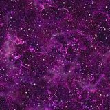 Abstract violet universe.  Nebula night starry sky. Purple outer space.  Galactic texture background. Seamless illustration. l Royalty Free Stock Photos