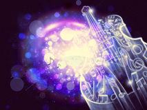 Abstract Violin on Bokeh Background. Violin silhouette made from music notes on bright background with bokeh Stock Images