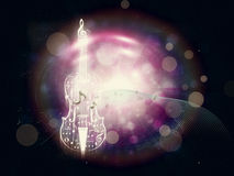 Abstract Violin on Bokeh Background. Violin silhouette made from music notes on bright background with bokeh Stock Photo
