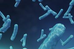 Abstract virus als achtergrond Het concept die wetenschap en geneeskunde, immuniteit in het lichaam verminderen Griepvirus stock illustratie