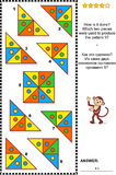Abstract visual puzzle - how is it done?. IQ training abstract visual puzzle: How is it done? Which two pieces were used to produce the pattern 5? Answer stock illustration