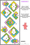 Abstract visual puzzle - how is it done?. IQ training abstract visual puzzle: How is it done? Which two pieces were used to produce the pattern 5? Answer Stock Images
