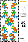 Abstract visual puzzle - how is it done?. IQ training abstract visual puzzle: How is it done? Which two pieces were used to produce the pattern 5? Answer vector illustration