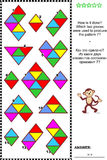 Abstract visual puzzle - how is it done?. Abstract visual puzzle: How is it done? Which two pieces were used to produce the pattern 7? Answer included vector illustration