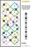 Abstract visual puzzle with signs on squares Vector Illustration