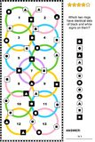 Abstract visual puzzle with various signs on colorful rings. IQ training abstract visual puzzle suitable both for kids and adults: Which two rings have identical Royalty Free Illustration