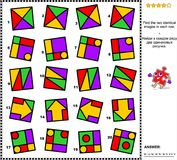 Abstract visual riddle - find two identical images in every row. IQ training abstract visual puzzle: Find the two identical images in every row. Suitable both Stock Photography