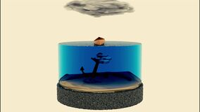 Abstract visualization of a mini aquarium with a small shoal of fish. Design. Bright water reservoir with small fishes