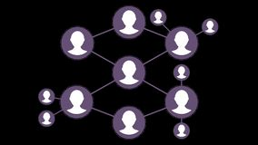 Abstract visualization of a social network. Social group network on black background.  Stock Image
