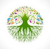 Abstract Vitality Tree Logo. Illustration of Multicolored Round Abstract Vitality Tree  Logo Design Stock Photography