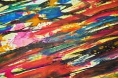 Blurred bright vivid colors, contrasts, waxy paint creative background. Abstract vivid bright paint colors, contrasts, blurred vivid watercolor texture. Abstract Royalty Free Stock Image