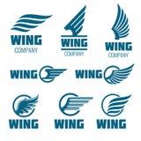 Abstract vleugels vectordieembleem voor levering, lading, bedrijven wordt geplaatst Royalty-vrije Stock Fotografie