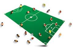 Abstract Voetbalgebied met Spelers Stock Foto's